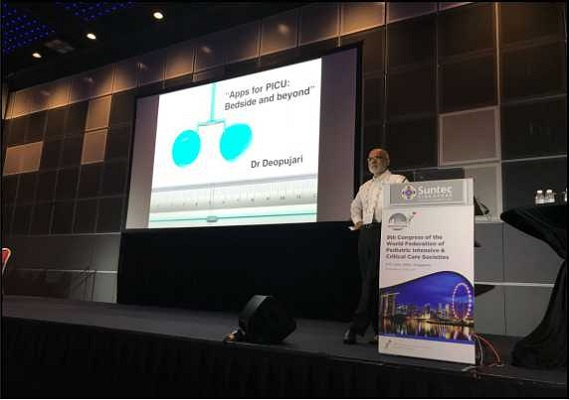 Dr. Satish Deopujari delivering lecture in global conference of pediatricians in Singapore.