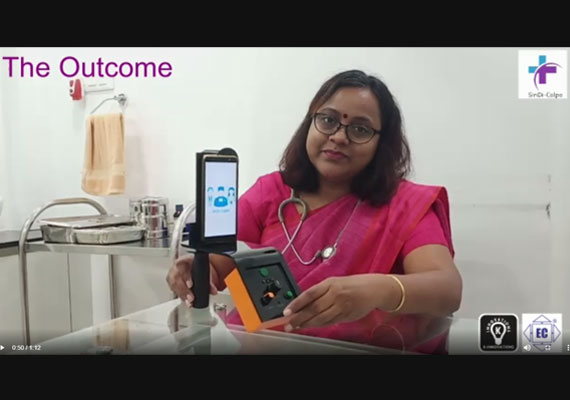 Dr. Anupama Bhute with her first version of innovative cancer patient screening tool developed with support from K-Innovations.